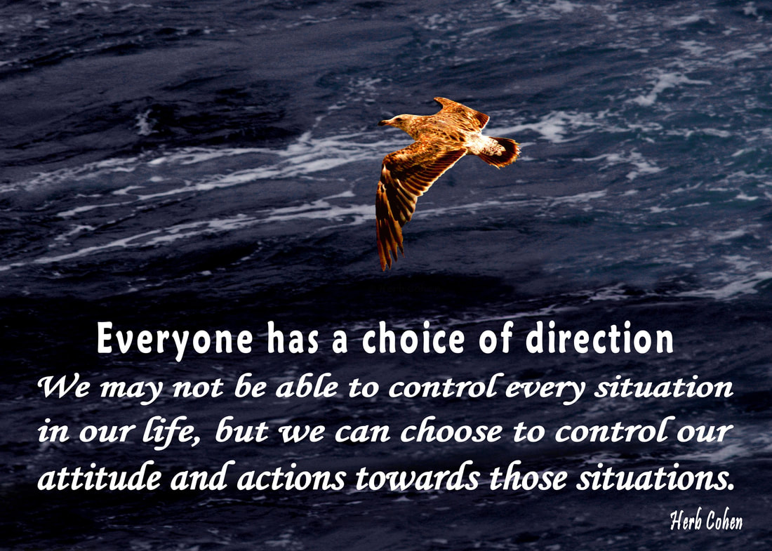 Everyone has a choice of direction.  We may not be able to control every situation in our life, but we can choose to control our attitude and actions towards those situations