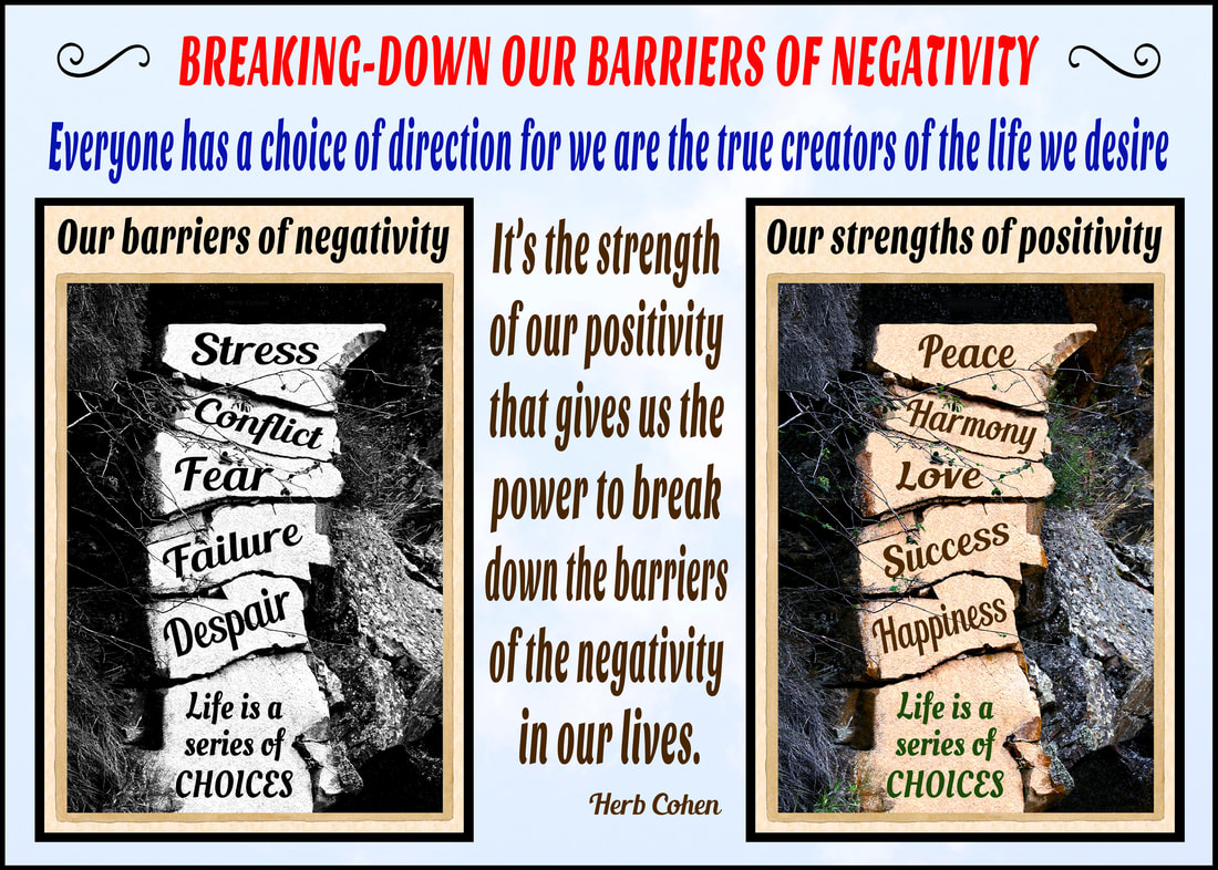 It's the strength of our positivity that gives us the power to break-down the barriers of the negativity in our lives