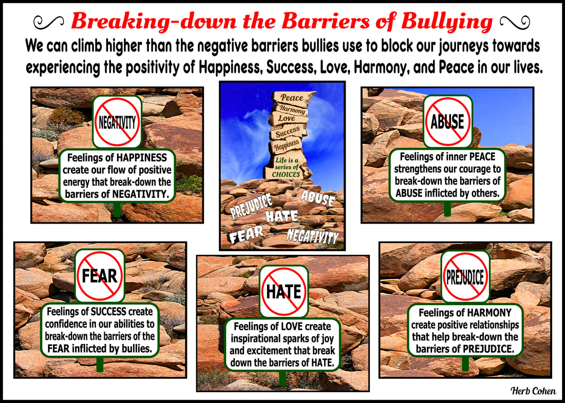 We DO have the power to break-down the barriers of NEGATIVITY, FEAR, HATE, PREJUDICE, AND ABUSE inflicted by bullies no matter where we find them