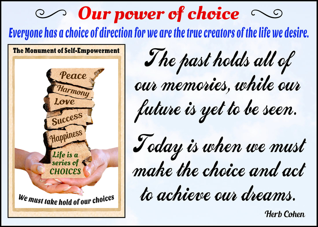 The past holds all of our memories, while our future is yet to be seen.  Today is when we must make the choice and act to achieve our dreams